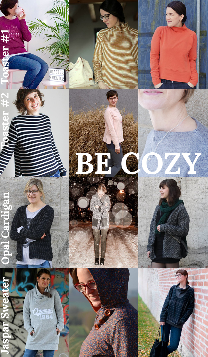 Näh-Connection: Be Cozy - Kuschelpullischnittpaket mit 4 Ebook (Toaster #1 und #2, Opal Cardigan, Jasper Sweater and Dress)