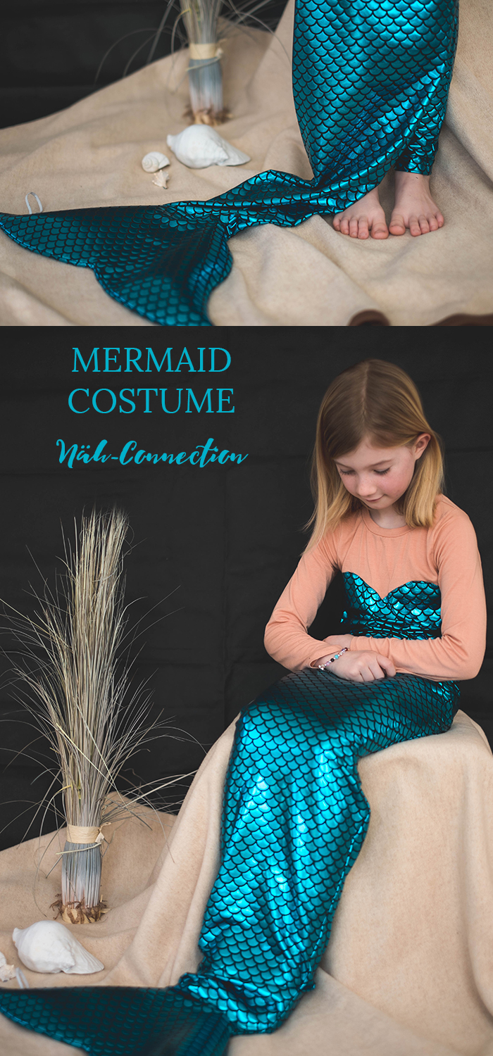 Näh-Connection | Mermaid Costume. The fin is repositionable and can be worn up at the wrist or the feet can really get in it for fun hours of play. The dream of every little girl.