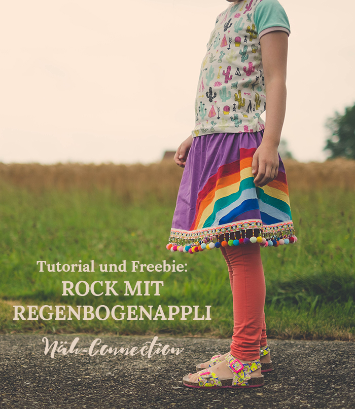 Tutorial und Freebie: Rock mit Regenbogenapplikation. (Näh-Connection für Skirting the Issue)